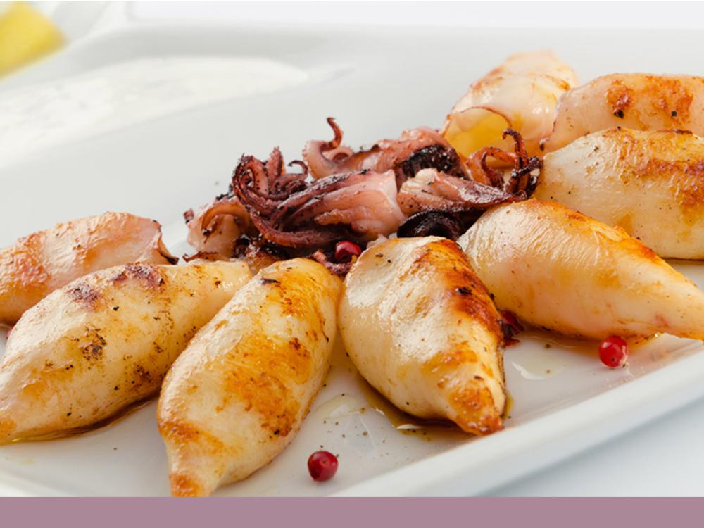 Photo de la recette de nos calamars et chipirons à la plancha.